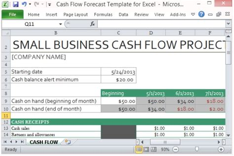 construction project cash flow excel template download