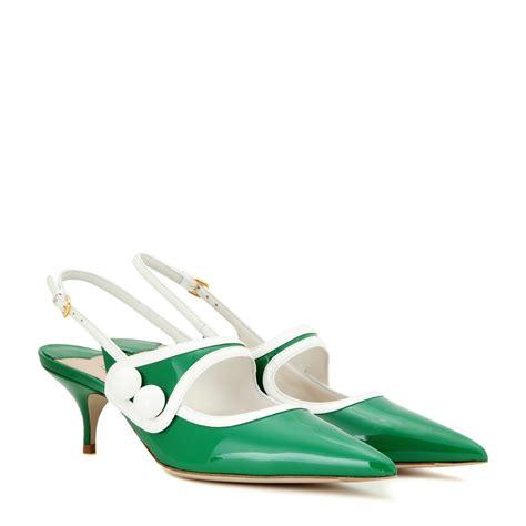 kittens shoes lyst miu miu patent leather slingback kitten heel pumps