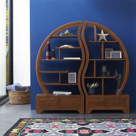 teak bookcase sphere bi ying yang bookcase sale tikamoon
