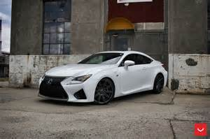 white lexus rcf on vossen wheels has the look of a cult