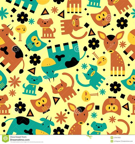 cute pattern animal seamless pattern with cute animals stock vector image