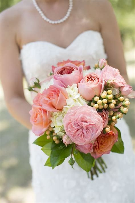 pink garden roses wedding bouquet