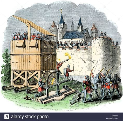 siege canon moveable siege tower of archers and cannon of