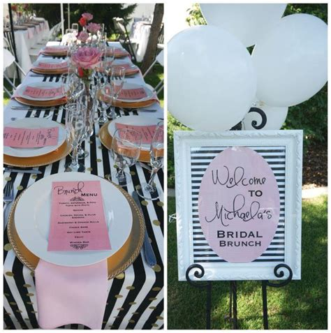 and black bridal shower ideas black white stripes with pink florals bridal wedding