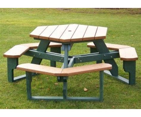 hexagon picnic table with slide in access occ outdoors