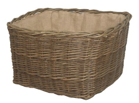 Lined Log Baskets For Fireplaces by Large Green Ash Rectangle Log Storage Basket Lined