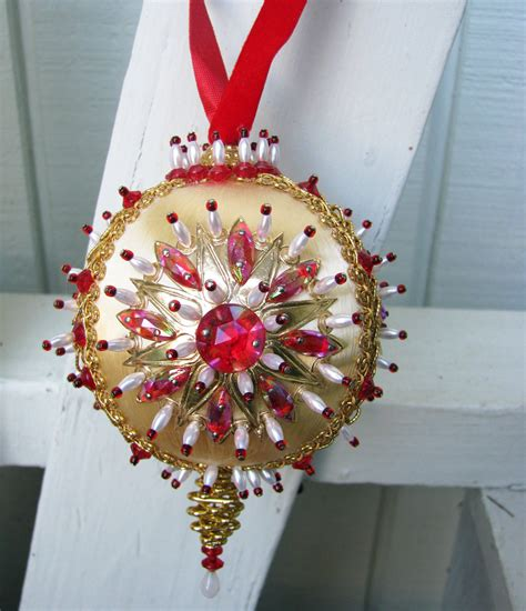 victorian beaded sequin christmas ornament vintage