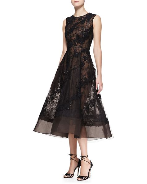 sheer beaded dress oscar de la renta sleeveless sheer lace beaded dress in
