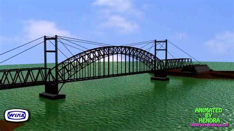 Jembatan Rangka Baja animasi rangka baja pelengkung bentang 120 m