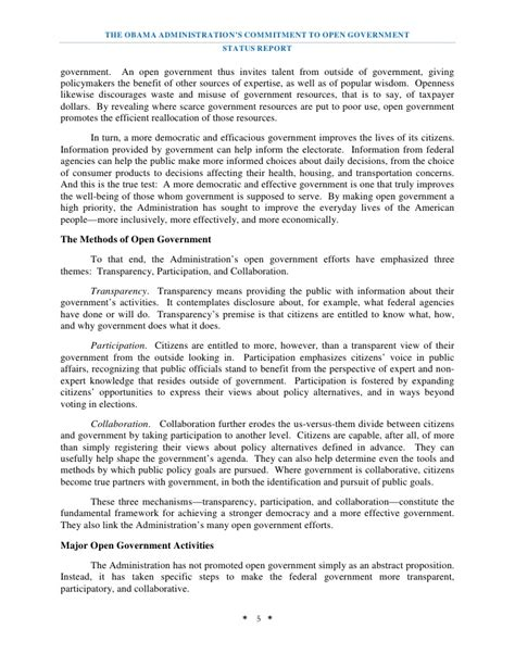 government report template open government status report