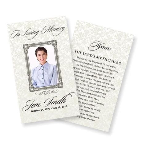 memorial cards for funeral template free template business