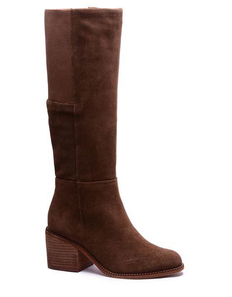 splendid boots lyst splendid kassie suede boots in brown