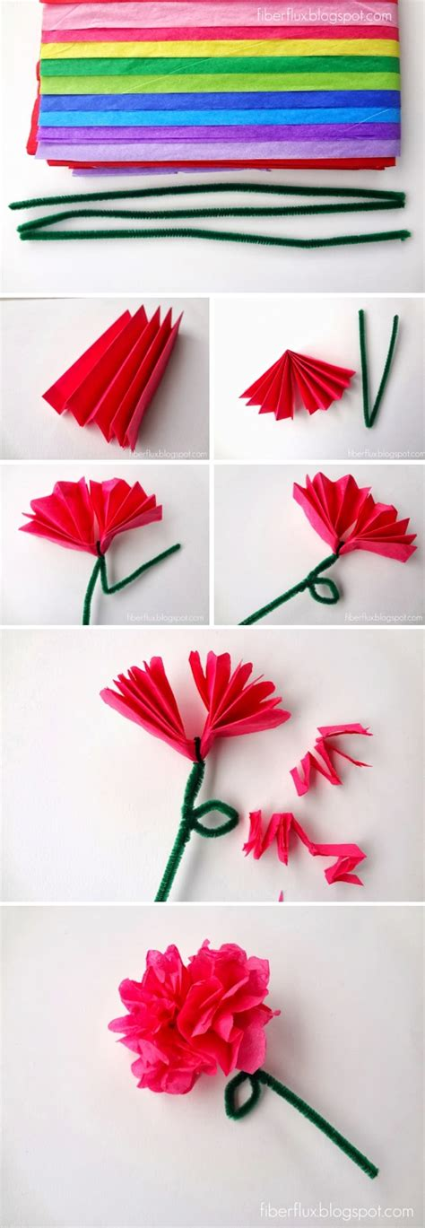 Tissue Paper Flower Craft - easy tissue paper flowers
