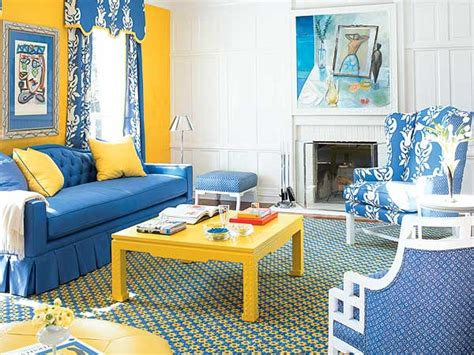 blue and yellow living room design in colours how to decorate your home with colours