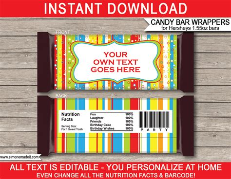 personalized chocolate bar wrappers template colorful hershey bar wrappers personalized bars