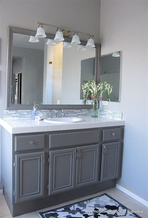 Grey Bathroom Cabinets by How To Paint Oak Cabinets
