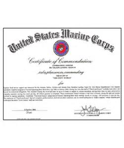 Usmc Certificate Of Commendation Template by Certificate Of Commendation Usmc Template