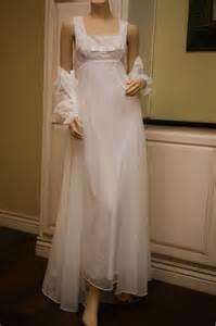wedding peignoir sets vintage shadowline peignoir set chiffon bridal white nightgown robe s eevc ebay