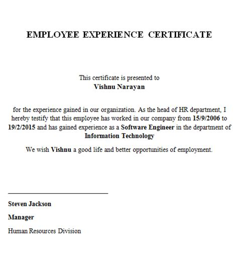 experience letter template for green card experience letter for green card how to format cover letter