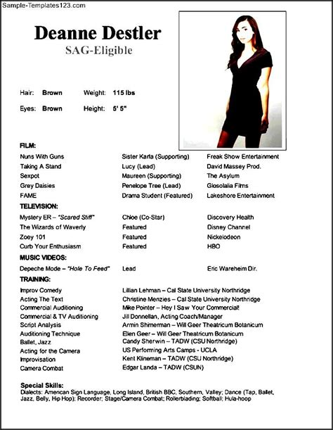 Professional Acting Resume Template by Professional Acting Resume Sle Templates