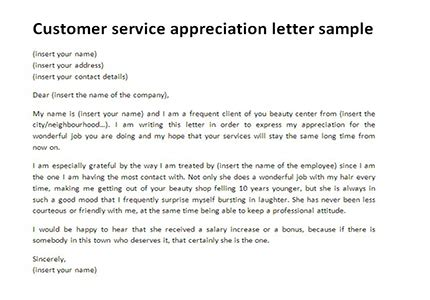 appreciation letter service company customer service appreciation letter sle letter templates