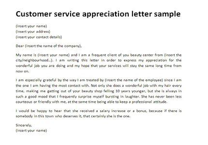 customer service appreciation letter customer