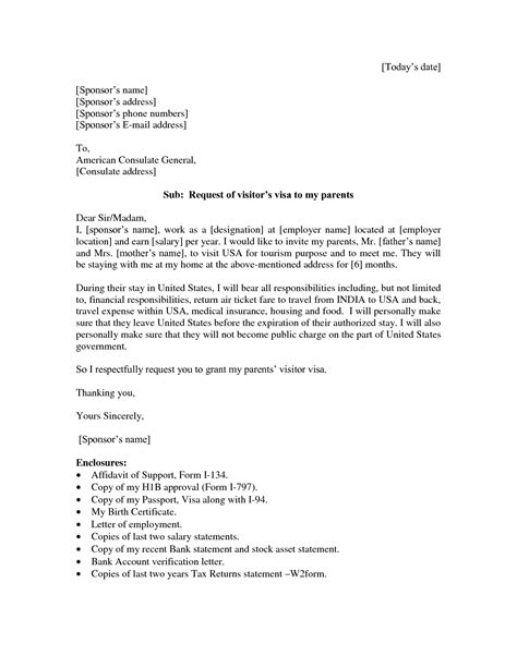 Sponsorship Letter Exle For Visa Sponsorship Letter Template For Us Visa