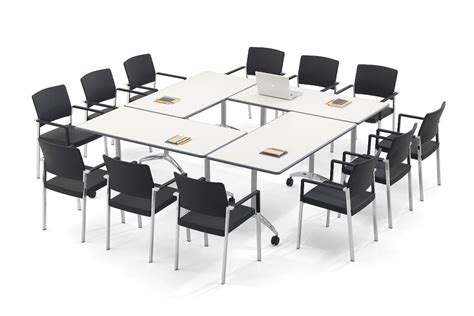 Large White Meeting Table Flip Top Conference Tables Flight Office Reality