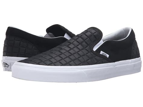 Fleece Slip Ons vans classic fleece lined slip on in blue for lyst