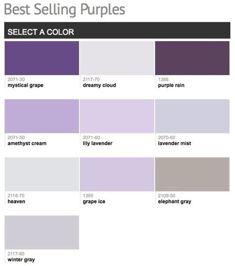 best selling popular shades of purple violet paint colors from benjamin color