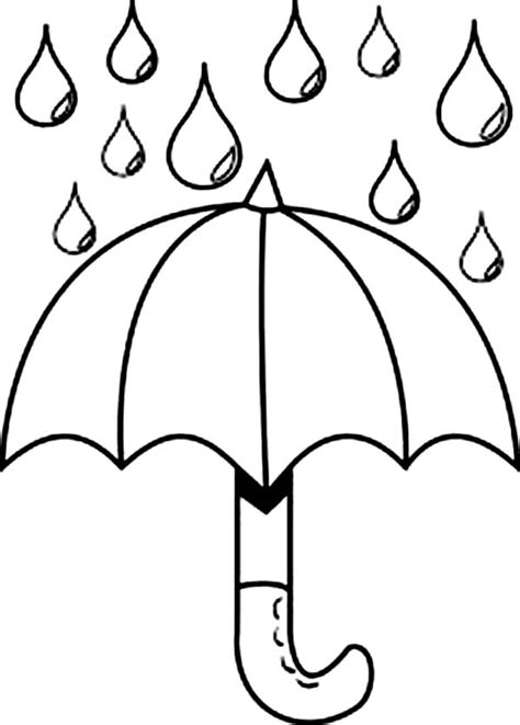 picture to color picture of raindrop and umbrella coloring page