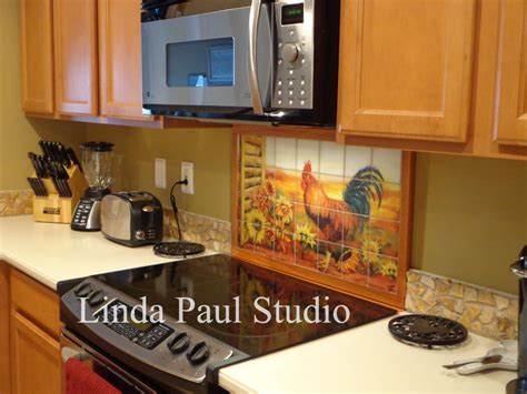 kitchen murals design rooster kitchen decor backsplash with sunflowers tile