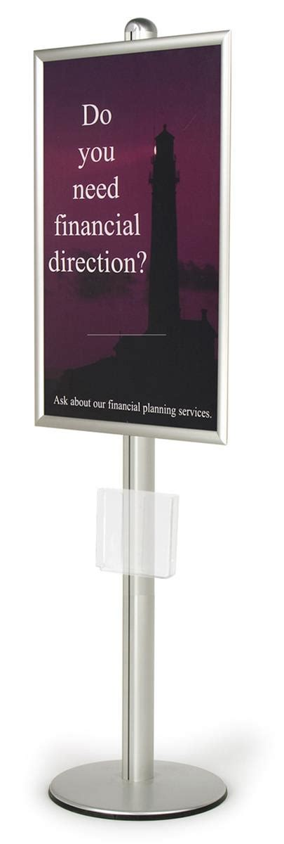 Ac 2436 Silver directory sign w 24 quot x 36 quot poster frame brochure holder