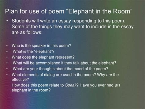 There Is An Elephant In The Room Poem by Speak Multi Text Lesson Dyson