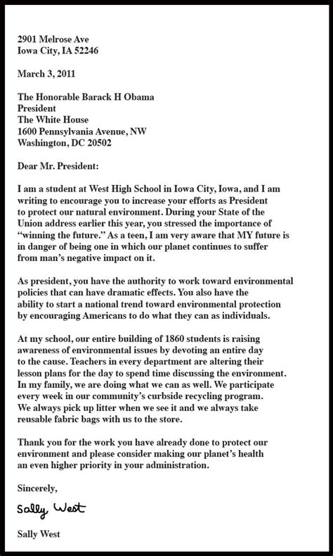 Business Letter Format To Ceo Sle Letter To The President Whs Library