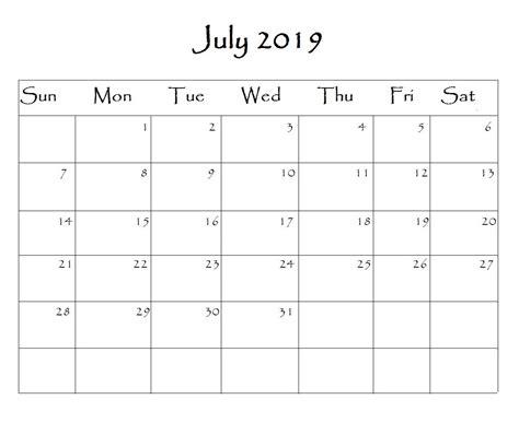 july calendar word monthly calendar templates