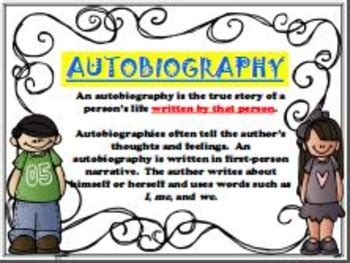 main differences between biography and autobiography biography autobiography english posters anchor charts