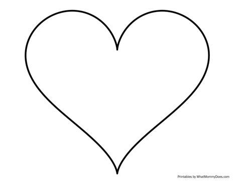 heart outline tattoo sized outline large printable template