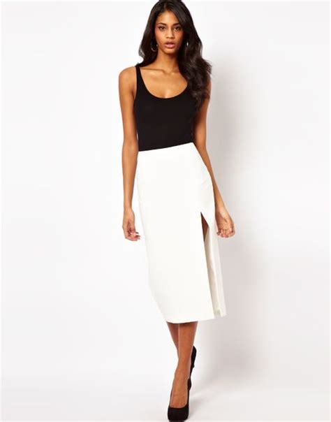 asos collection pencil skirt with split leg in white lyst