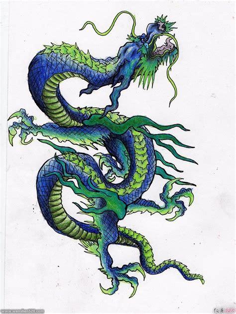 纹身青龙图案手稿