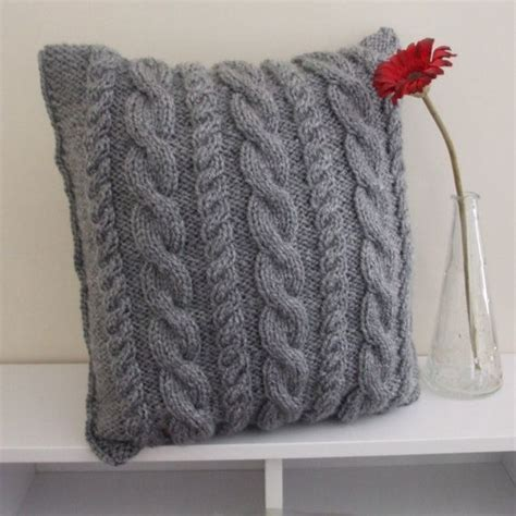 grey cable knit cushion grey cushion cover knitted with cables 14x14 inches