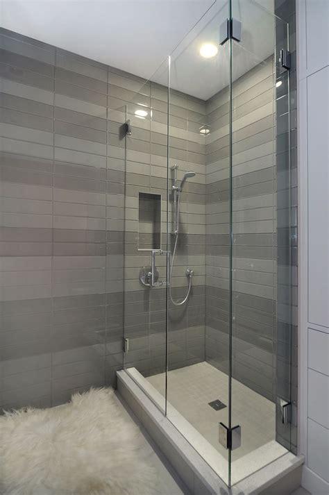 contemporary shower  striped tile detail  johnson