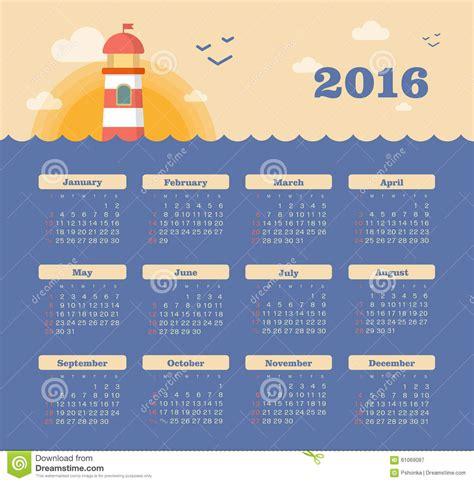 Calendrier Janvier 2016 Avec Numéro De Semaine Calendrier Pour 2016 Avec Le Phare Coucher Du Soleil Mer