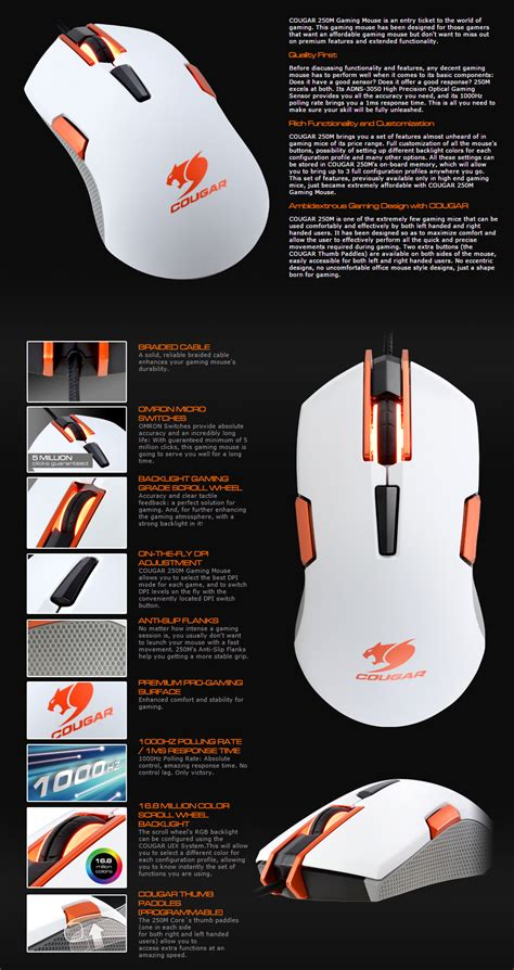 250m White Optical Gaming Mouse 250m rgb optical gaming mouse white cgr 250m white pc gear