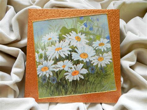 Decoupage Painting Techniques - decoupage technique painting field of daisies