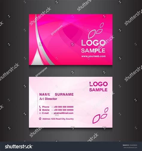 pink business card template pink business card design template vector stock vector