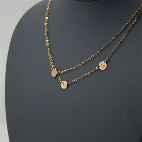 layered initial necklace three discs