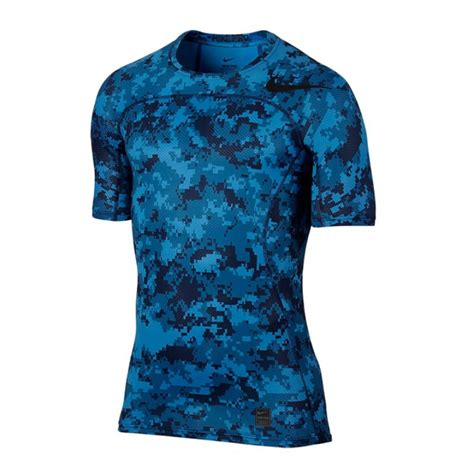 jual pakaian basket nike pro hypercool top sleeves compression blue camo original