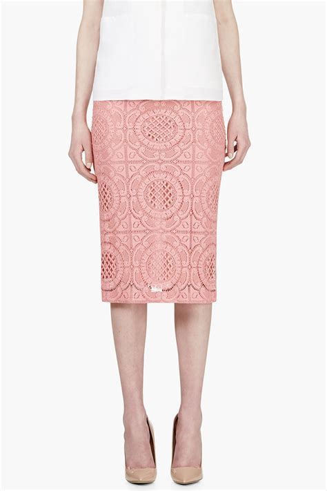 burberry prorsum pink lace overlay pencil skirt in pink lyst
