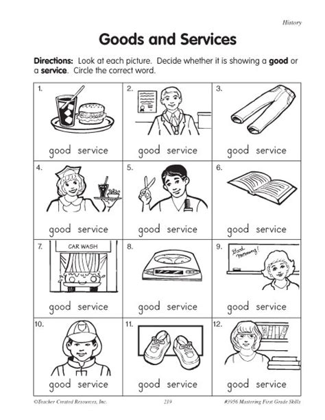 Goods And Services Worksheets by Goods And Services Education World